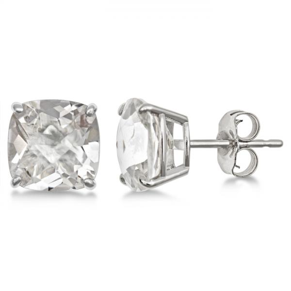 Cushion-Cut Crystal Quartz Stud Earrings in Sterling Silver (4.50ct)