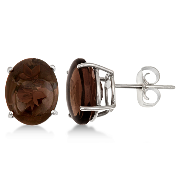 Oval Cut Smoky Quartz Stud Earrings in Sterling Silver (4.50ct)