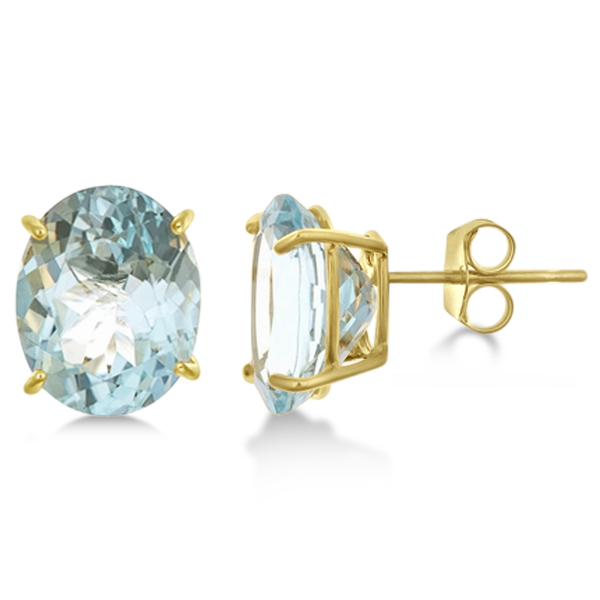 Exotic Oval Aquamarine Stud Earrings 10x8mm 14k Yellow Gold 4.50ct