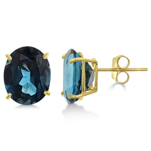 London Blue Topaz Stud Earrings 10x8mm 14k Yellow Gold 6.40ct
