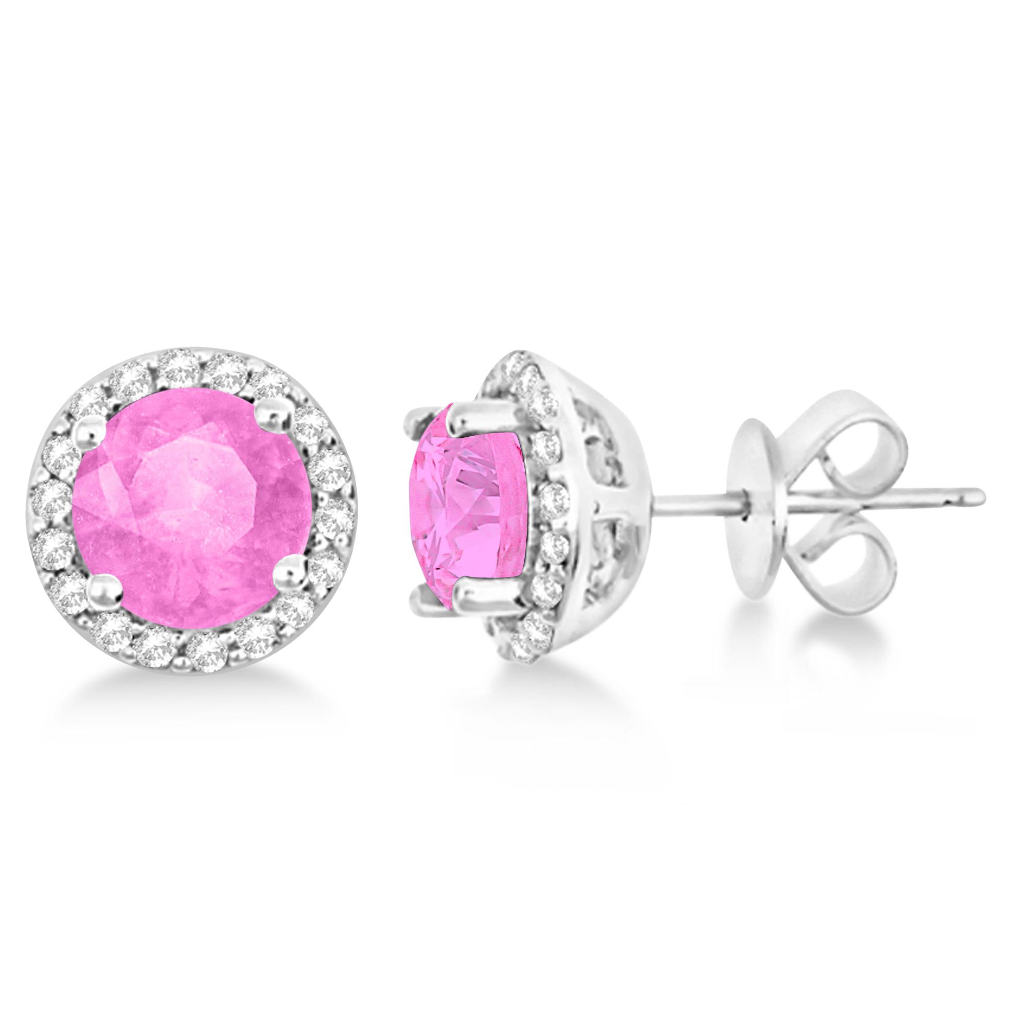 Pink Sapphire & Diamond Halo Stud Earrings in Sterling Silver 2.27ct