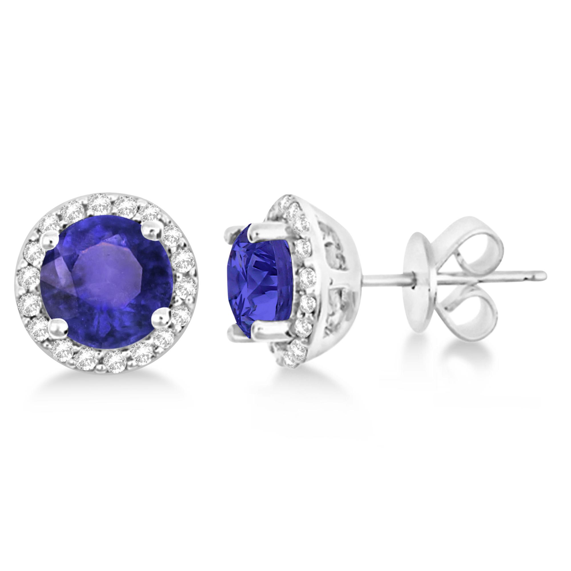 Tanzanite & Diamond Halo Stud Earrings in Sterling Silver 2.27ct