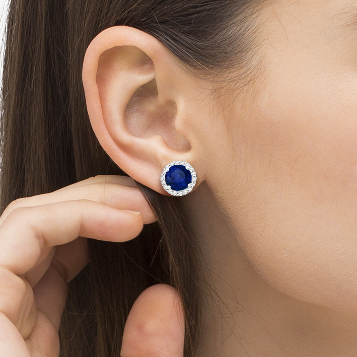 Blue Sapphire & Diamond Halo Stud Earrings in Sterling Silver 2.27ct