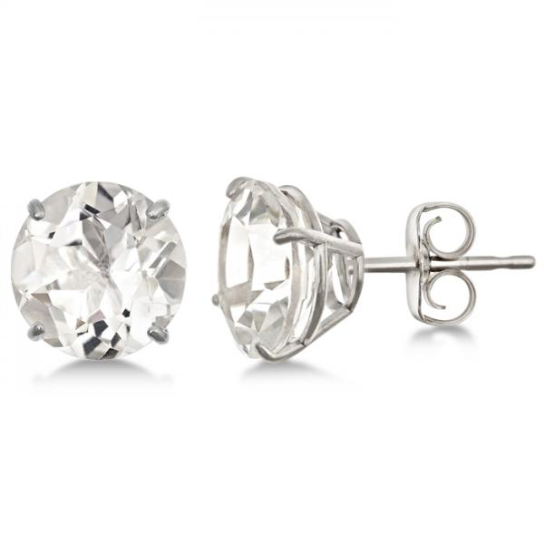 Crystal Quartz Stud Earrings Sterling Silver Prong Set (9.90ct)