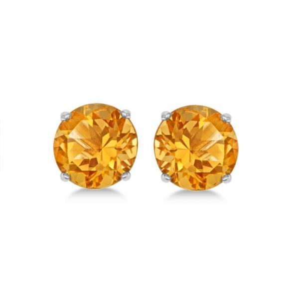 Citrine Stud Earrings Sterling Silver Prong Set (2.60ct)