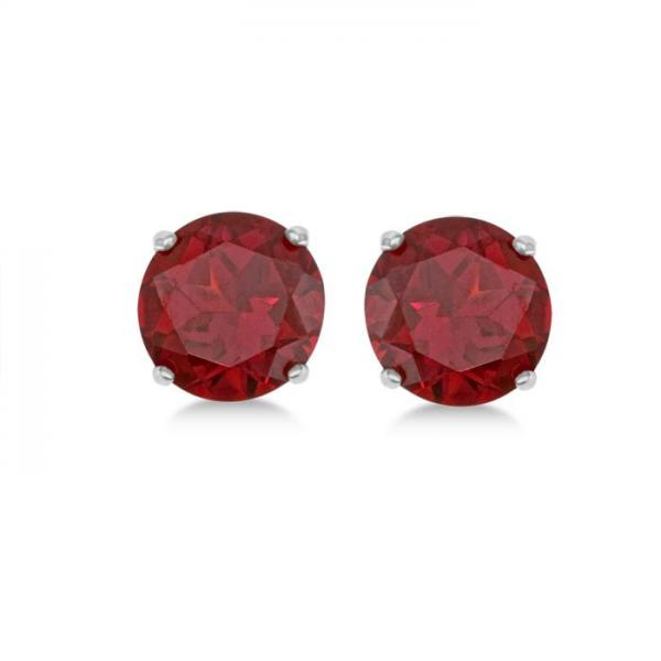 Ruby Stud Earrings Sterling Silver Prong Set (3.20ct)