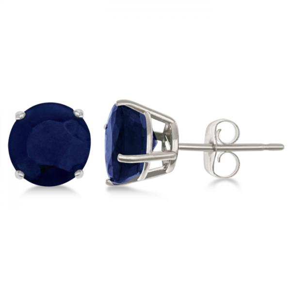 Blue Sapphire Stud Earrings Sterling Silver Prong Set (3.20ct)