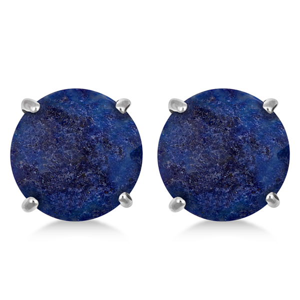 Round Cut Lapis Stud Earrings in Sterling Silver (4.90ct)