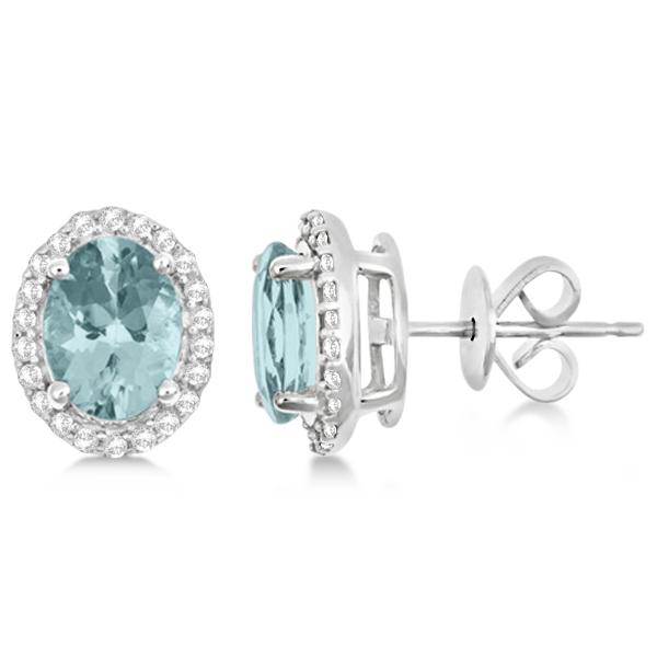 Oval Aquamarine & Diamond Halo Stud Earrings Sterling Silver 2.32ct