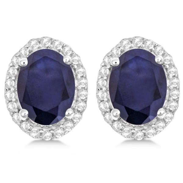 Oval Blue Sapphire & Diamond Halo Stud Earrings Sterling Silver 3.22ct