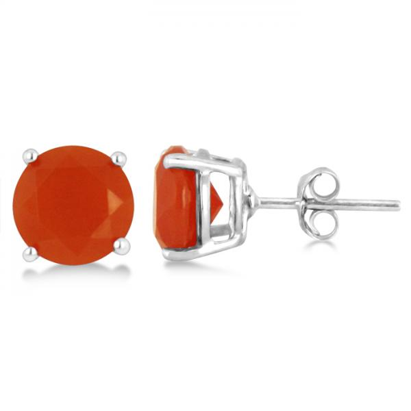 Red Agate Stud Earrings Sterling Silver Prong Set (3.60ct)