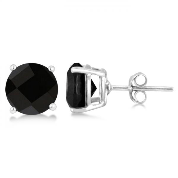 Black Agate Stud Earrings Sterling Silver Prong Set (3.60ct)