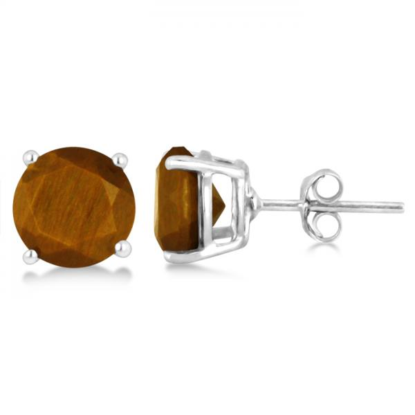 Tiger's Eye Quartz Stud Earrings Sterling Silver Prong Set (3.60ct)