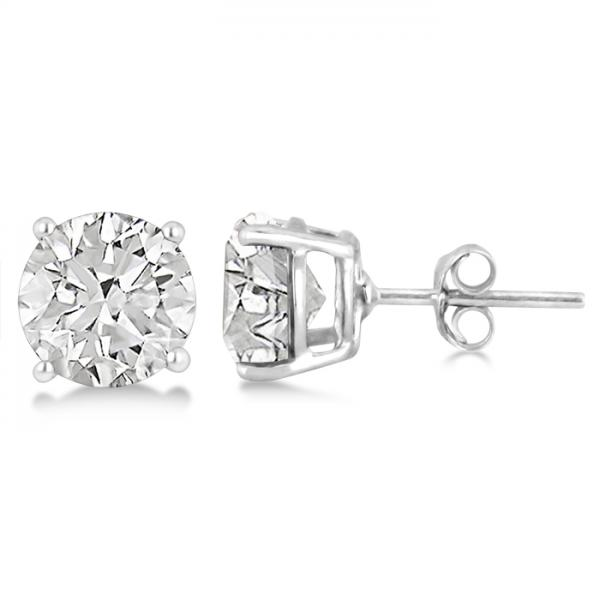 Crystal Quartz Stud Earrings Sterling Silver Prong Set (3.40ct)
