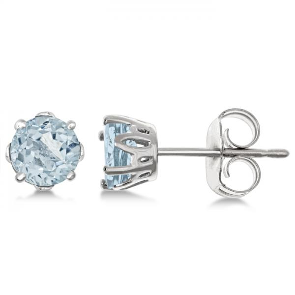 Aquamarine Stud Earrings Sterling Silver Prong Set (0.82ct)