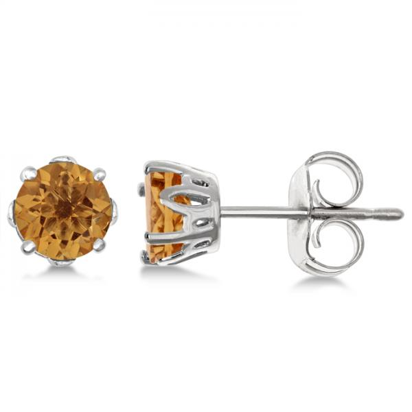 Citrine Stud Earrings Sterling Silver Prong Set (0.80ct)