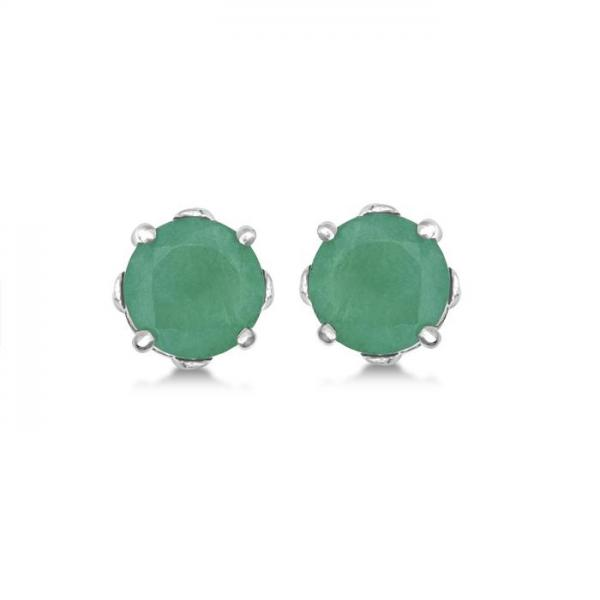 Emerald Stud Earrings Sterling Silver Prong Set (0.96ct)