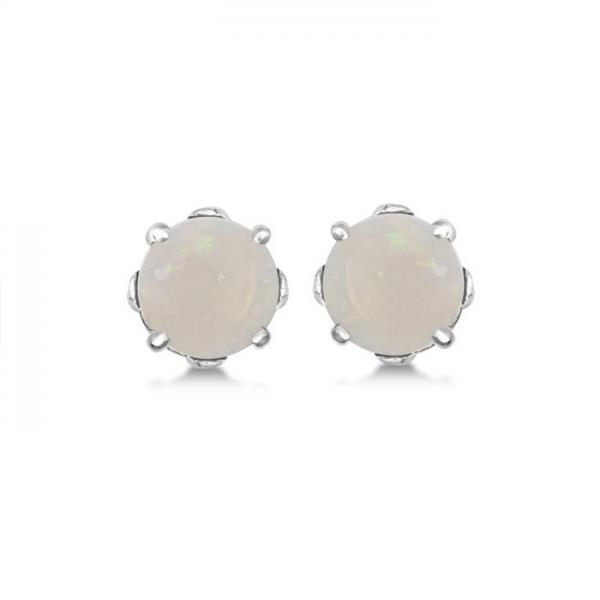 Opal Stud Earrings Sterling Silver Prong Set (0.60ct)