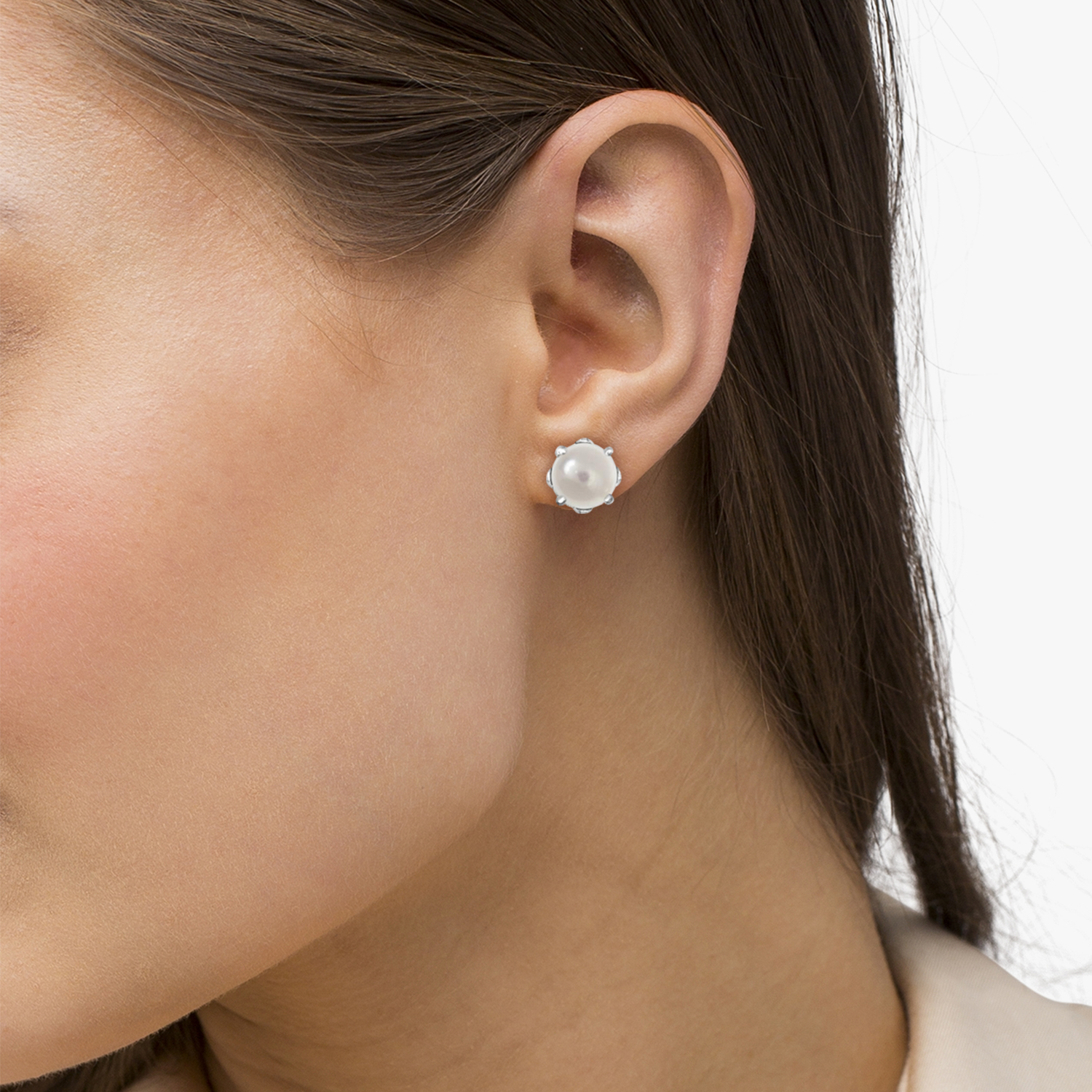 White Pearl Stud Earrings Sterling Silver Prong Set (5mm)