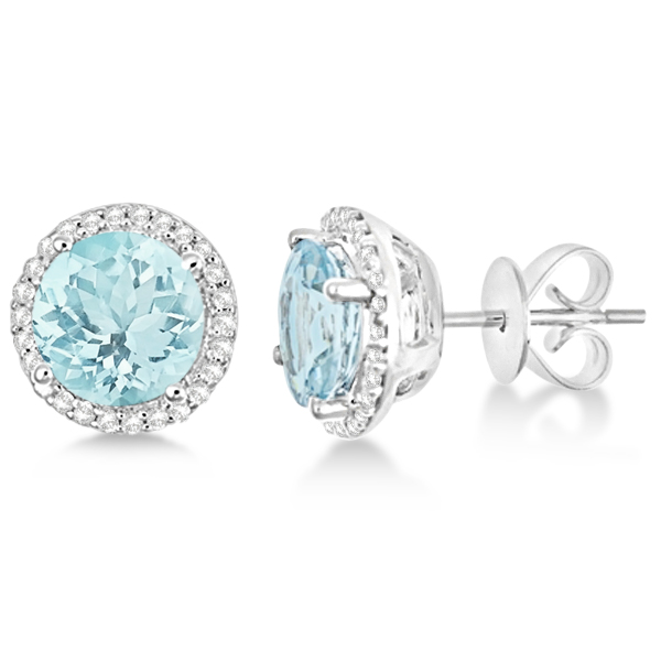 Round Aquamarine & Diamond Halo Stud Earrings Sterling Silver 2.66ct