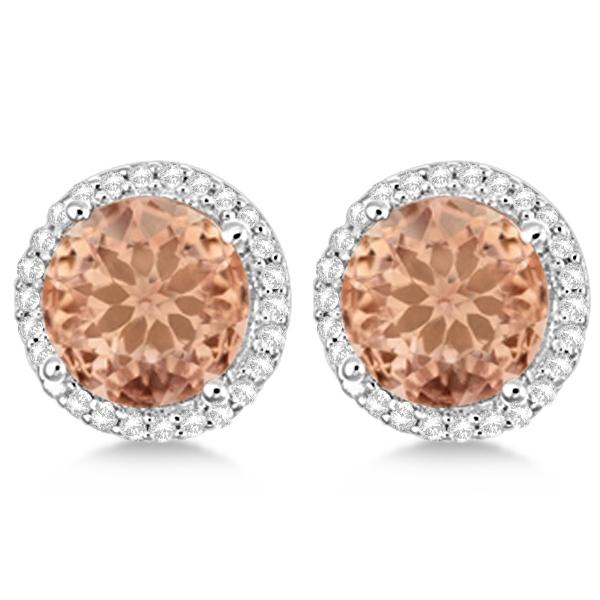 Round Morganite & Diamond Halo Stud Earrings Sterling Silver 2.66ct