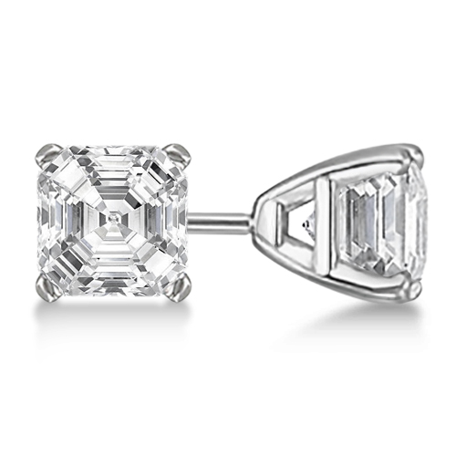 1.00ct. Asscher-Cut Diamond Stud Earrings 14kt White Gold (H, SI1-SI2)