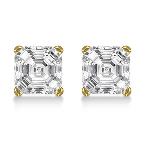 1.00ct. Asscher-Cut Diamond Stud Earrings 14kt Yellow Gold (H, SI1-SI2)