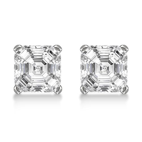 1.00ct. Asscher-Cut Diamond Stud Earrings 18kt White Gold (H, SI1-SI2)