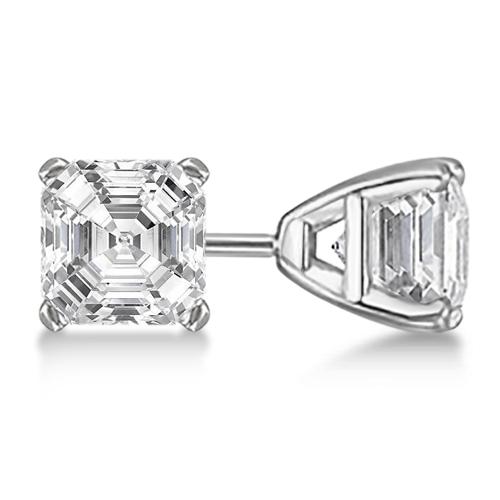 0.50ct. Asscher-Cut Diamond Stud Earrings 18kt White Gold (H, SI1-SI2)