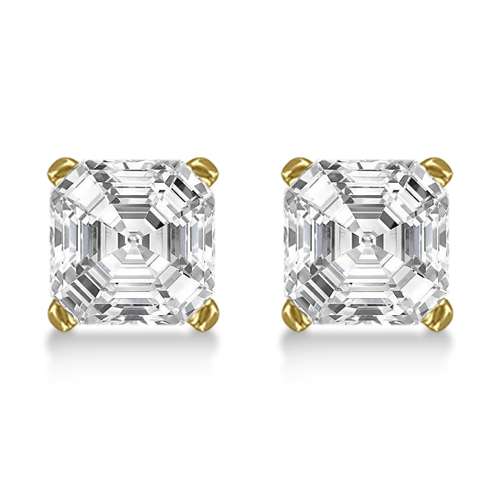 0.50ct. Asscher-Cut Diamond Stud Earrings 18kt Yellow Gold (H, SI1-SI2)