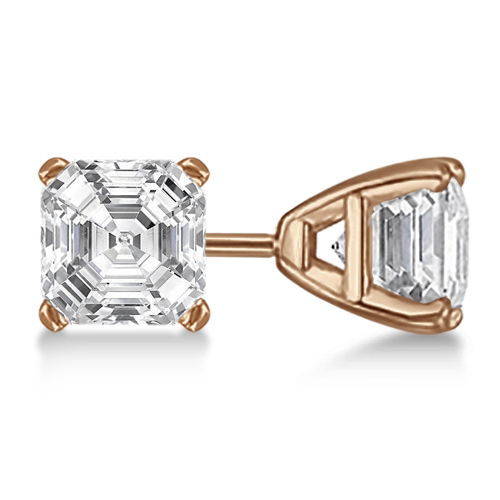 1.00ct. Asscher-Cut Lab Grown Diamond Stud Earrings 14kt Rose Gold (H, SI1-SI2)