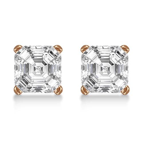 1.50ct. Asscher-Cut Diamond Stud Earrings 14kt Rose Gold (G-H, VS2-SI1)