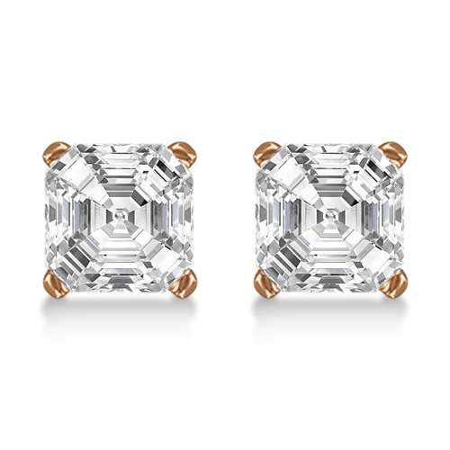 1.00ct. Asscher-Cut Diamond Stud Earrings 14kt Rose Gold (G-H, VS2-SI1)