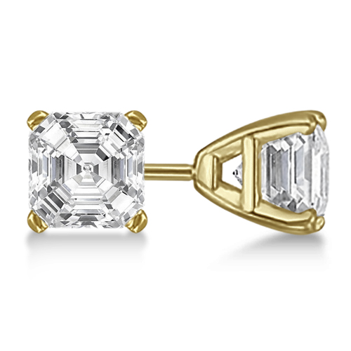 1.00ct. Asscher-Cut Diamond Stud Earrings 14kt Yellow Gold (G-H, VS2-SI1)