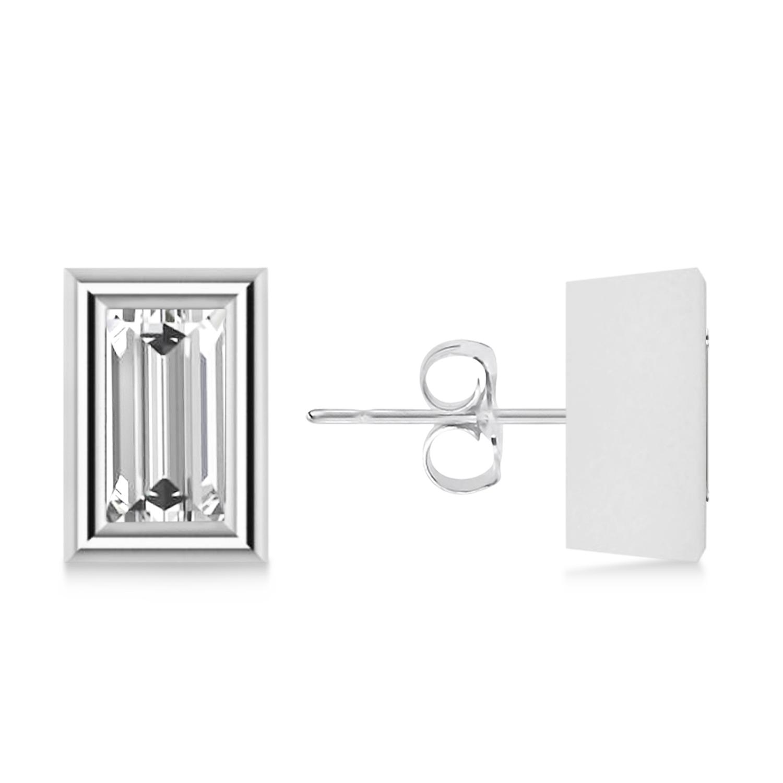 0.50ct Baguette-Cut Diamond Stud Earrings 14kt White Gold (G-H, VS2-SI1)