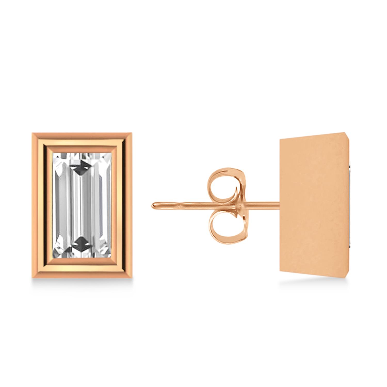 0.75ct Baguette-Cut Lab Grown Diamond Stud Earrings 18kt Rose Gold (G-H, VS2-SI1)