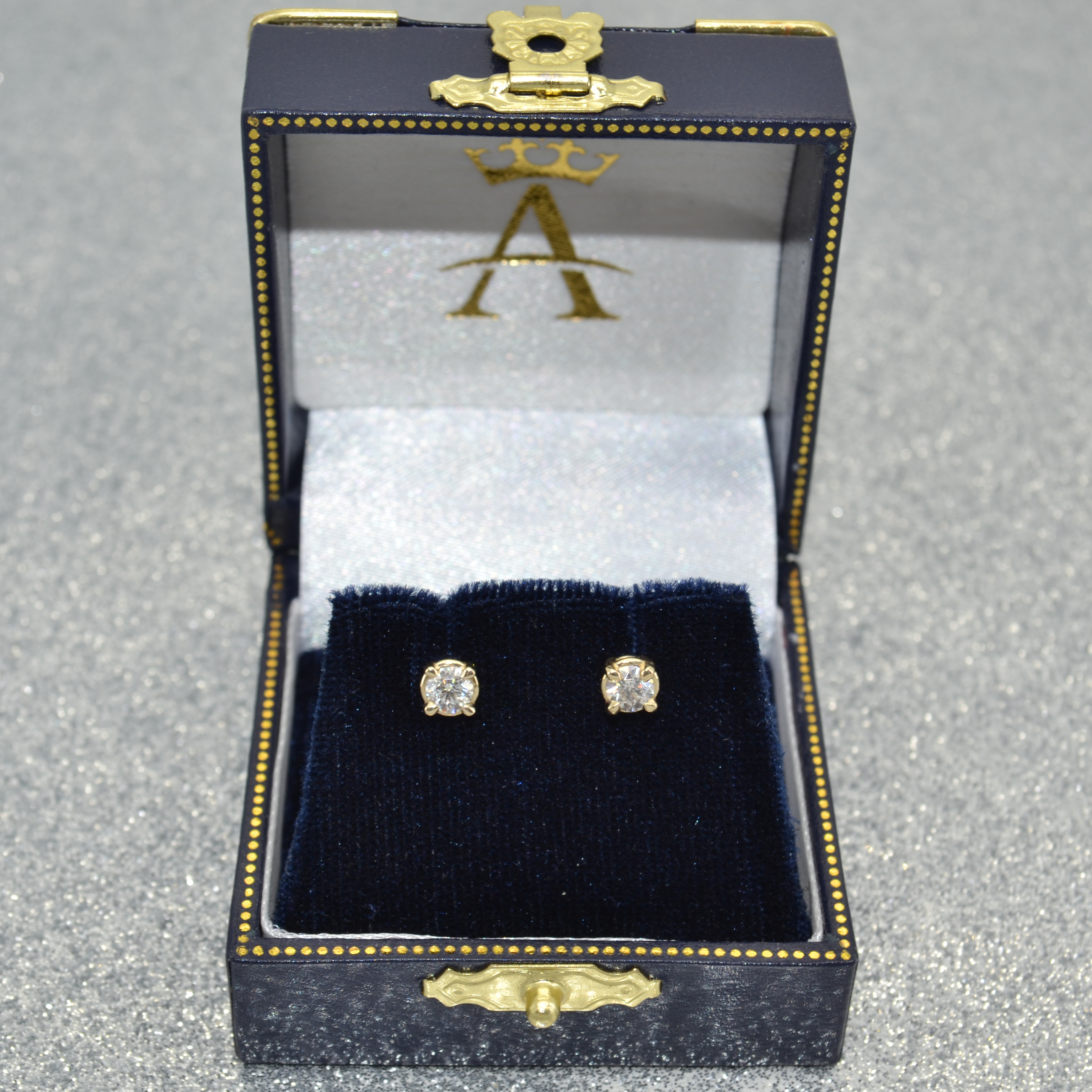 0.50ct. 4-Prong Basket Diamond Stud Earrings 14kt Yellow Gold (H-I, SI2-SI3)