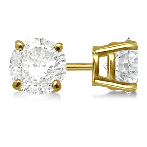 1.00ct. 4-Prong Basket Diamond Stud Earrings 18kt Yellow Gold (H-I, SI2-SI3)