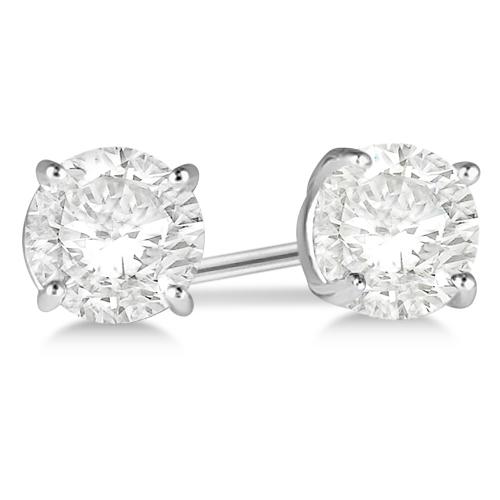 1.00ct. 4-Prong Basket Diamond Stud Earrings Platinum (H-I, SI2-SI3)