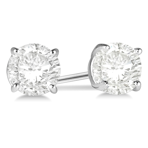 2.50ct. 4-Prong Basket Diamond Stud Earrings 14kt White Gold (H, SI1-SI2)