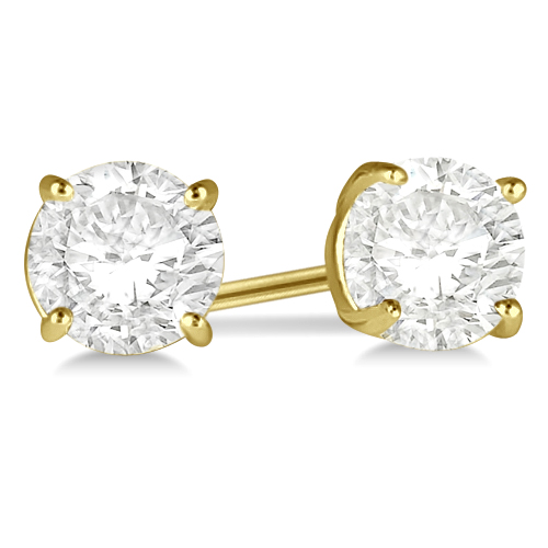 1.00ct. 4-Prong Basket Diamond Stud Earrings 14kt Yellow Gold (H, SI1-SI2)