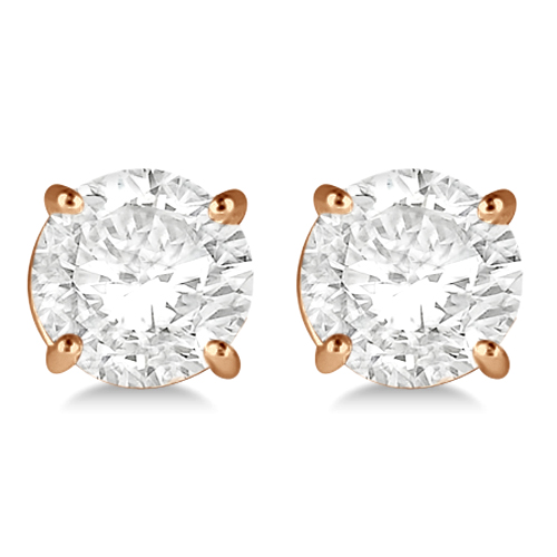 1.50ct. 4-Prong Basket Diamond Stud Earrings 18kt Rose Gold (H, SI1-SI2)