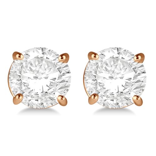 3.00ct. 4-Prong Basket Diamond Stud Earrings 18kt Rose Gold (H, SI1-SI2)