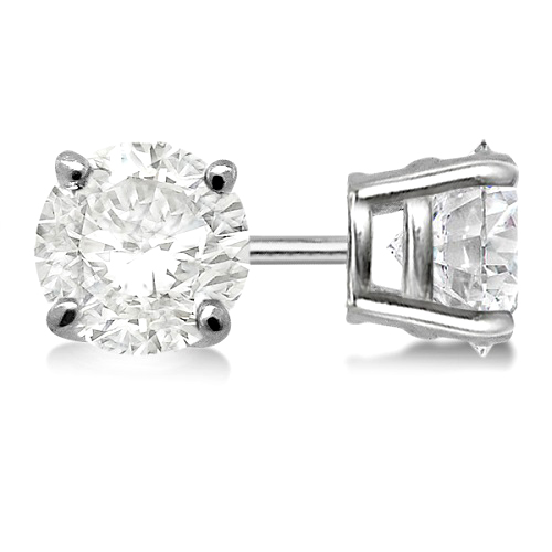 1.00ct. 4-Prong Basket Diamond Stud Earrings 18kt White Gold (H, SI1-SI2)