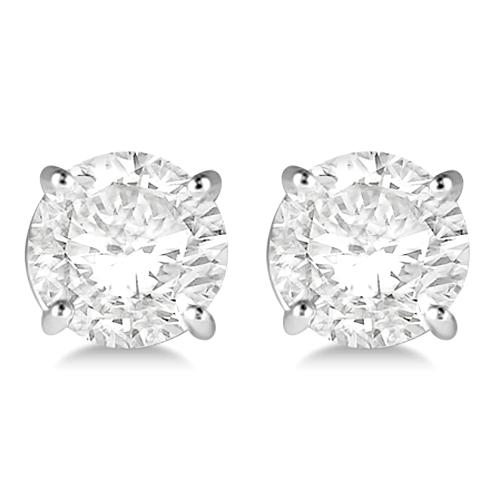 3.00ct. 4-Prong Basket Diamond Stud Earrings 18kt White Gold (H, SI1-SI2)