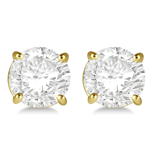 1.00ct. 4-Prong Basket Diamond Stud Earrings 18kt Yellow Gold (H, SI1-SI2)