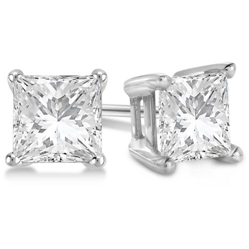 2.00ct. Princess Diamond Stud Earrings 18kt White Gold (H-I, SI2-SI3)