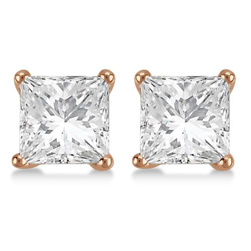 1.00ct. Princess Diamond Stud Earrings 14kt Rose Gold (H, SI1-SI2)