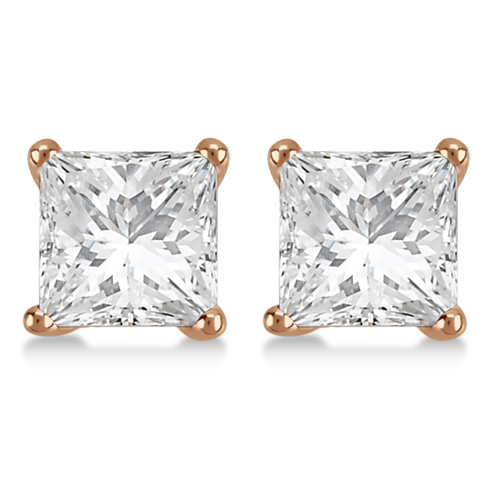 3.00ct. Princess Diamond Stud Earrings 14kt Rose Gold (H, SI1-SI2)