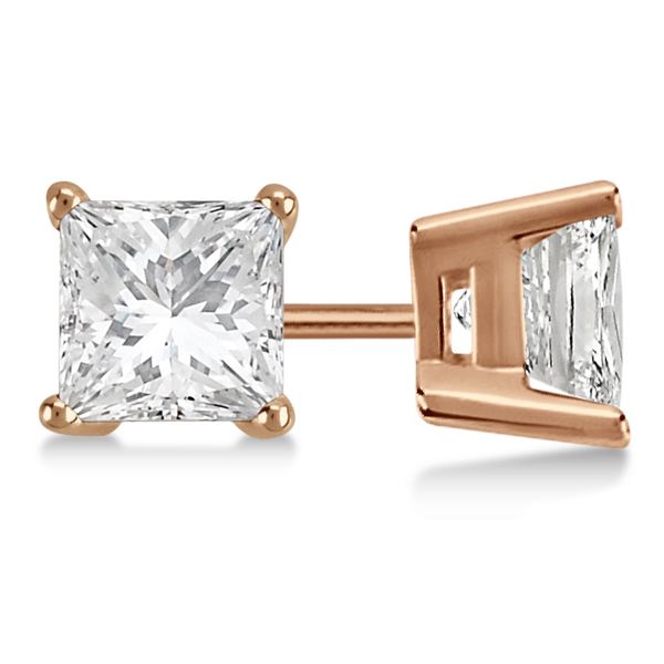 3.00ct. Princess Diamond Stud Earrings 18kt Rose Gold (H, SI1-SI2)
